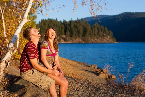 Couple at Lake Laughing